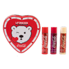Physicians Formula   Coca-Cola 3 Piece Lip Balm Tin   Product front facing out of tin with caps fastened, with no background