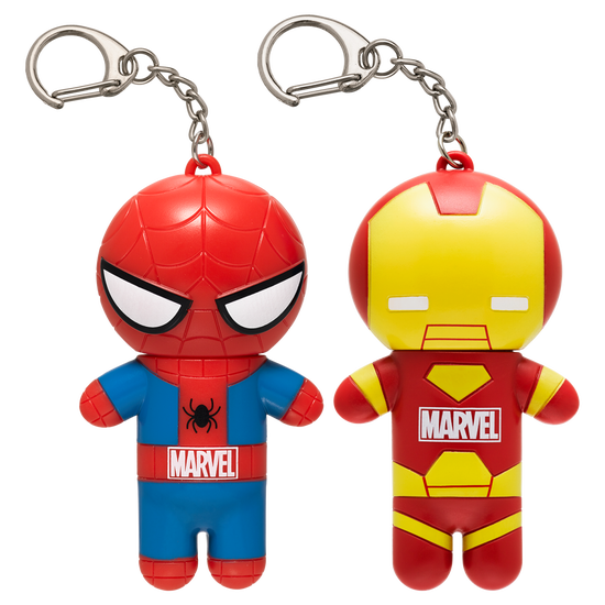 Marvel Superhero Lip Balm Duo- Spiderman & Iron Man   Lip Smacker   Products front facing caps fastened, with no background
