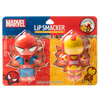 Marvel Superhero Lip Balm Duo- Spiderman & Iron Man   Lip Smacker   Products front facing in packaging, with no background