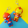 Marvel Superhero Lip Balm Duo- Spiderman & Iron Man   Lip Smacker   Products angled cap fastened, with blue and yellow background
