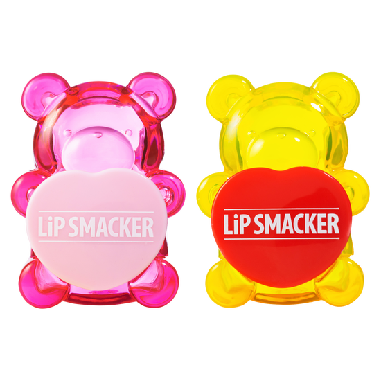 BFF Sugar Bear Lip Balm Duo- Pink & Yellow | Lip Smacker | Product front facing caps fastened, with no background