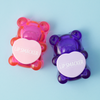 BFF Sugar Bear Lip Balm Duo- Pink & Purple | Lip Smacker | Products angled cap fastened, with blue background