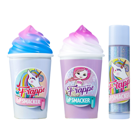Magical Frappe Collection 3 Pack Beverage Lip Balm - Unicorn & Mermaid   Lip Smacker   Products front facing cap fastened, with no background