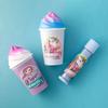 Magical Frappe Collection 3 Pack Beverage Lip Balm - Unicorn & Mermaid   Lip Smacker   Products angled caps fasrnened, with blue background