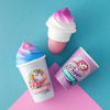 Magical Frappe Collection 3 Pack Beverage Lip Balm - Unicorn & Mermaid   Lip Smacker   Product angled, with blue background