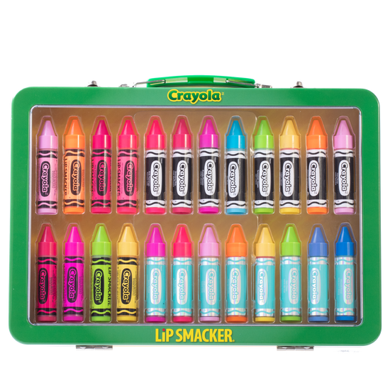 Lip Smacker | Crayola 24 - Piece Lip Balm Vault - Product front facing in case, with no background