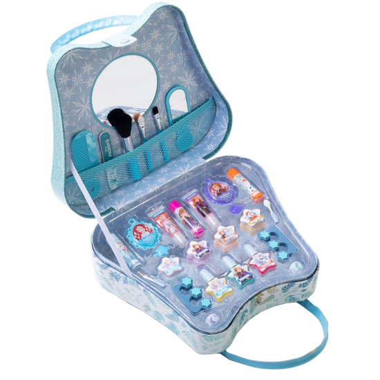 Lip Smacker | Disney Frozen II Weekender Bag | Product angled bag open, with no background.