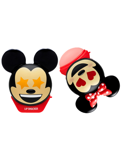 Lip Smacker | Disney Emoji Lip Balm Duo - Mickey & Minnie - products front facing with cap fastened and one open, with no background
