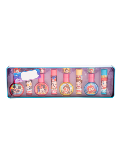 Lip Smacker | Disney Lip & Nail Tin - Emoji - products front facing in open tin, with no background