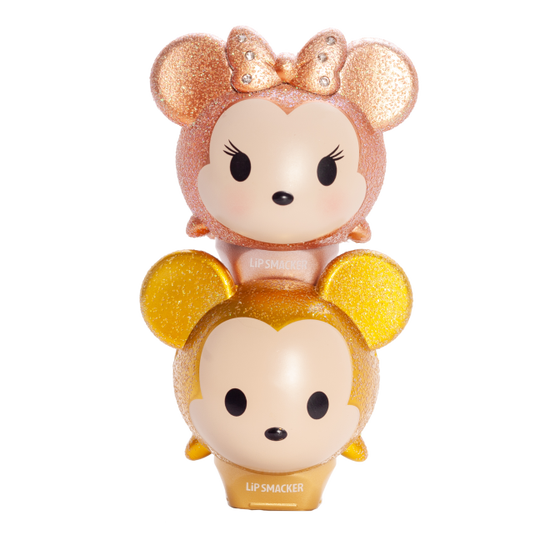 Lip Smacker | Tsum Tsum Duo - Glitter Gold Mickey & Minnie - products stacked front facing with cap fastened, with no background
