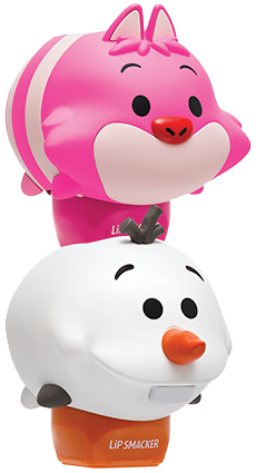 Lip Smacker | Tsum Tsum Duo- Olaf & Cheshire Cat - products stacked angle view with cap fastened, with no background