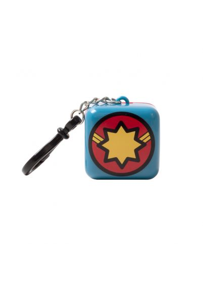 Lip Smacker | Marvel Cube - Captain Marvel - Daring Peach Punch - product front facing with cap fastened, with white background