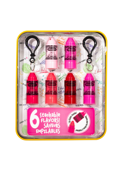 Lip Smacker | Crayola Stackable Mini Vault - Pinks - Products in tin front facing caps fastened, with no background
