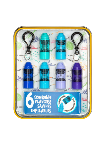 Lip Smacker | Crayola Stackable Mini Vault - Blues - Products front facing in tin with cap fastened, with no background