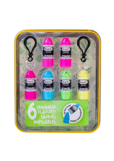 Lip Smacker | Crayola Stackable Mini Vault - Neons - Products front facing in tin cap fastenend, with no background