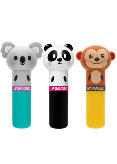 Lip Smacker | Lippy Pal Lip Balm Trio - Koala, Panda, Monkey - product front facing with cap fastened, with no background