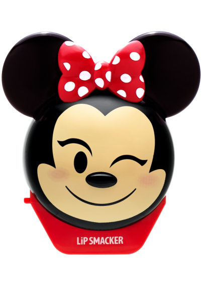 Lip Smacker | Disney Emoji Lip Balm - Minnie - #StrawberryLe-Bow-nade - product front facing with cap fastened, carded, with no background