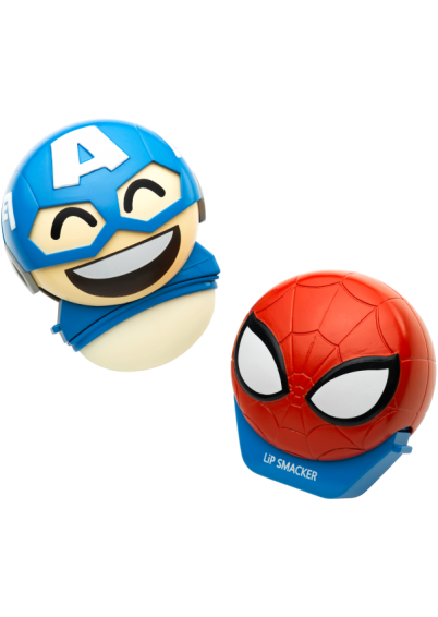Lip Smacker | Disney Emoji Lip Balm Duo - Spiderman & Captain America - products front facing with cap fastened and one open, with no background