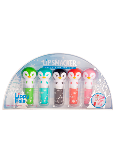 Lip Smacker | 5 Piece Penguin Lippy Pal Collection  - products front facing in packaging, with no background