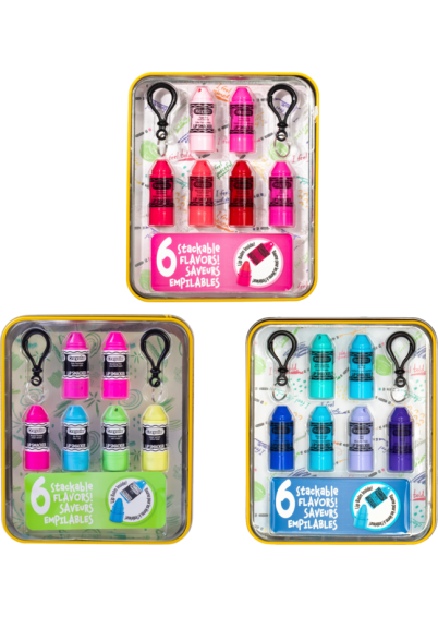 Lip Smacker | Crayola Stackable Mini Vault Collection - Products front facing cap fastenend in open tin, with no background