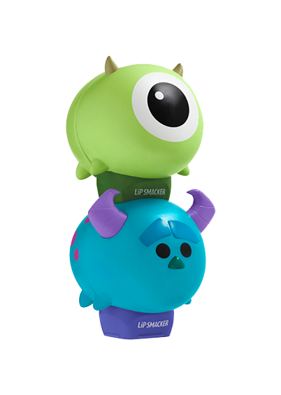 Lip Smacker | Tsum Tsum Duo - Mike Wazowksi & Sulley - products stacked angle view with cap fastened, with no background