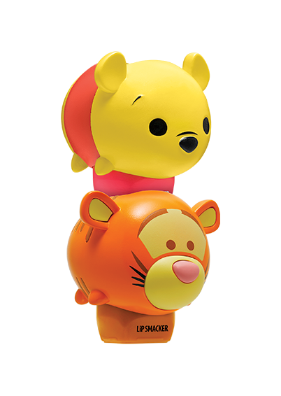 Lip Smacker | Tsum Tsum Duo- Winnie the Pooh & Tigger - products stacked angle view with cap fastened, with no background