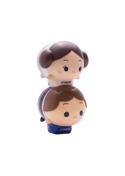 Lip Smacker | Tsum Tsum Duo - Han Solo & Princess Leia - products stacked angle view with cap fastened, with no background