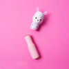 Lippy Pal Lip Balm - Llama - Straw-ma-Llama berry | Lip Smacker - Product front facing angled cap removed, with pink background