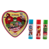 Lip Smacker | Marvel 3 Piece Lip Balm Tin | Product Front facing out of tin with caps fastened, no background