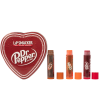 Lip Smacker | Dr Pepper 3 Piece Lip Balm Tin | Products front facing tin lid on, caps removed on lip balms, with no background