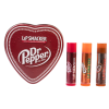 Lip Smacker | Dr Pepper 3 Piece Lip Balm Tin | Products front facing caps fastened, with no background