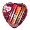 Lip Smacker | Dr Pepper 3 Piece Lip Balm Tin | Products front facing tin lid off, caps fastened on lip balm, with no background