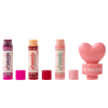Lip Smacker | 3 Piece Lip Balm with Heart Topper - Pink | Product front facing out of tube caps removed, with no background