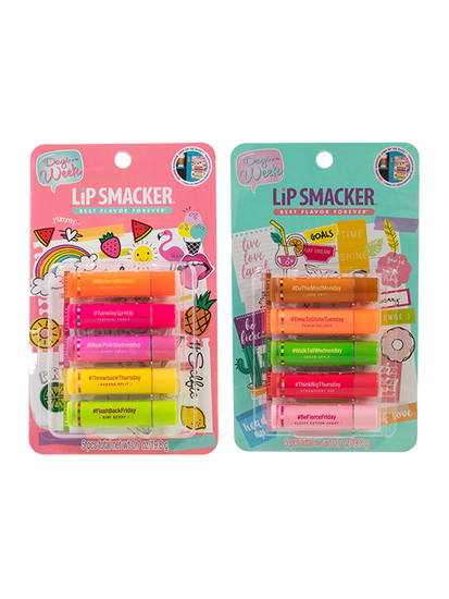 Lip Smacker | Days of the Week Collection - Products front facing, carded, no background