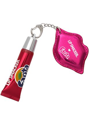 Lip Smacker | Strawberry Fanta Refresh Gloss with Keychain - product front facing with keychain fastened, with no background