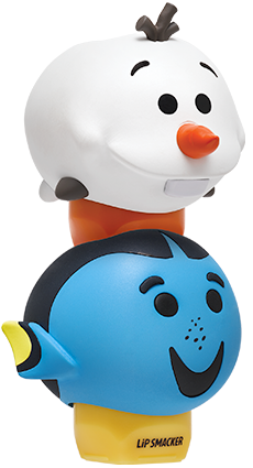 Lip Smacker | Tsum Tsum Duo- Dory & Olaf - products stacked angle view with cap fastened, with no background