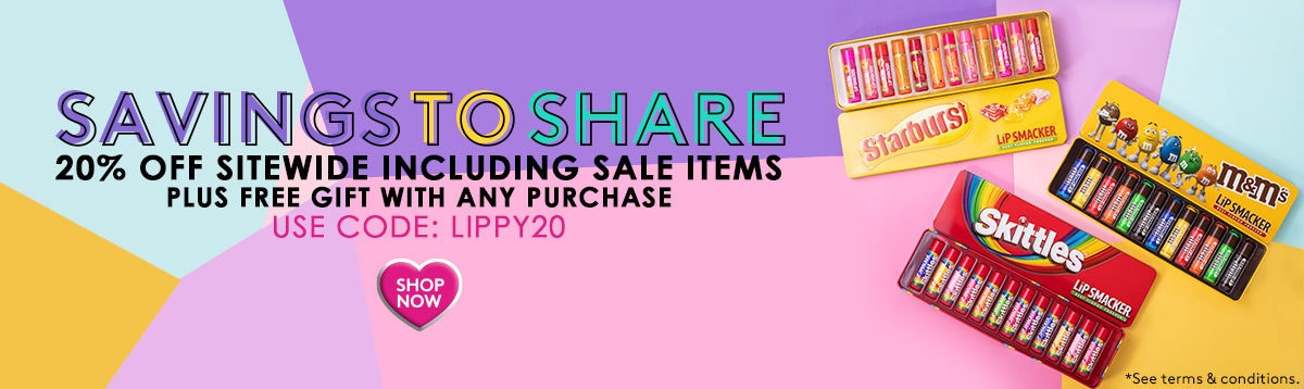 Saving to Share | 20% Off Sitewide, Including Sale Items - Use Code: LIPPY20 + Free Gift with any purchase | Lip Smacker | Products front lid removed with colorful background