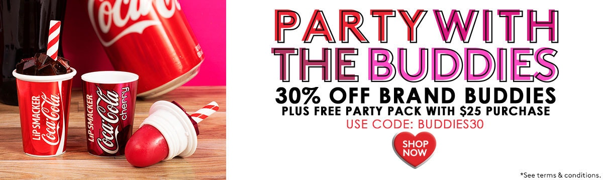 Party with the buddies | 30% Off brand Buddies - Use Code: BUDDIES30 + Free Party Pack with $25+ Purchase | Lip Smacker | Product front facing one open with coca cola in background