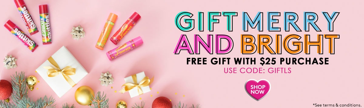 Lip Smacker | Gift Merry and Bright. Free Gift with $25+ Purchase - Use Code: GIFTLS - Shop Now! Products layed out with caps fastenend, woth pink background and holiday decorations.