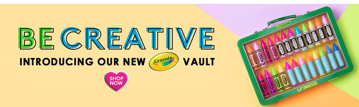 Lip Smacker | Be Creative - Introducting Our New Crayola Vault - Shop Now |Product angled front facing case closed, with colorful background