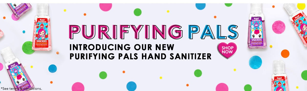 Lip Smacker | Introducing New Purifying Pal Hand Sanitizer Bundles - Perfectly Portable, Must-Have Essential - Shop Now! Hand Sanitizers displayed on white background with colored dots