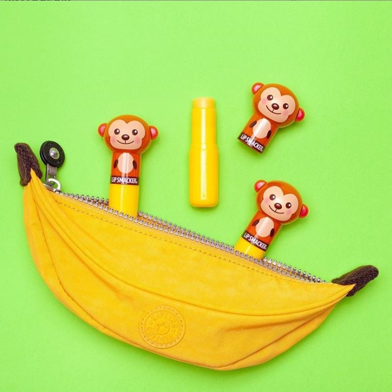 Banana Flavored Lip Balms with Lippy Pal Monkeys pictured with Banana case