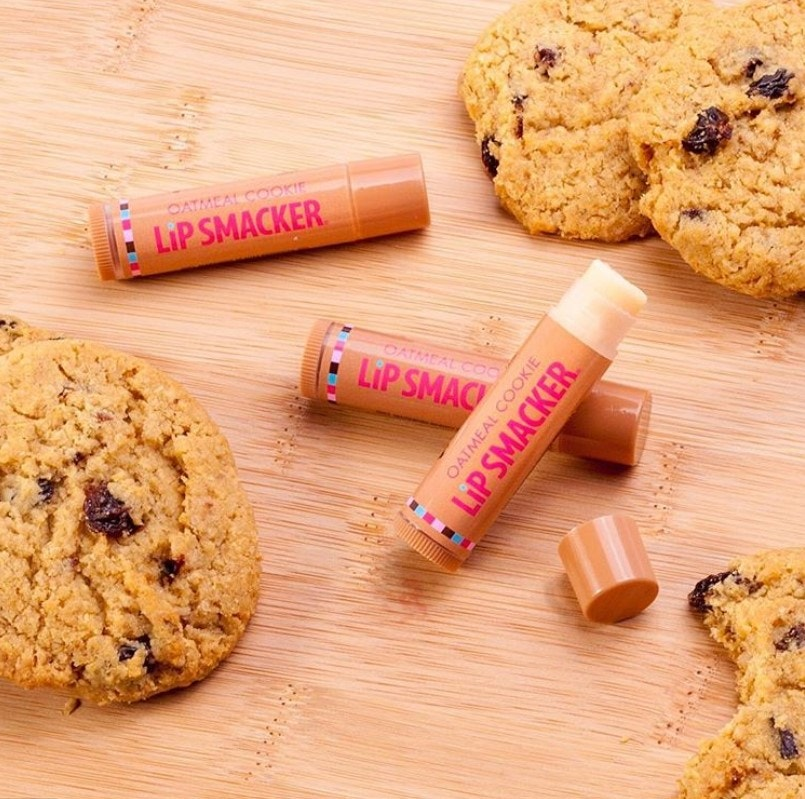 Oatmeal Cookie Flavored Lip Balms with cookies