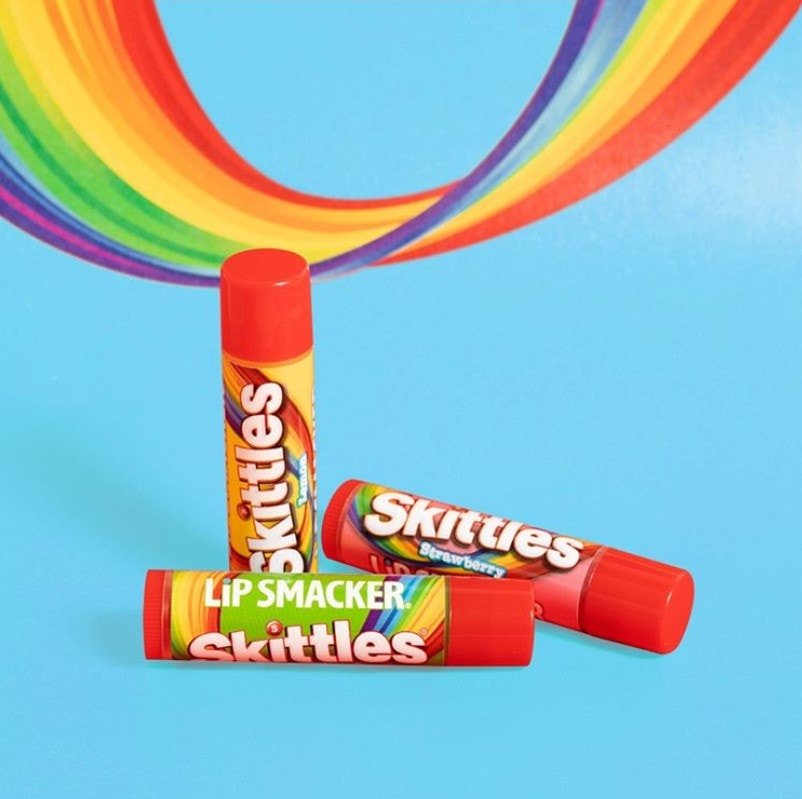 Skittles Candy Flavored Lip Balms with rainbow