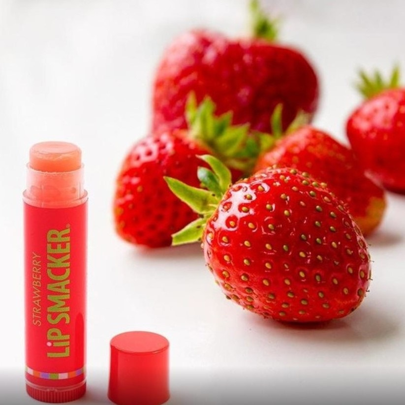Strawberry flavored lip balm with strawberries