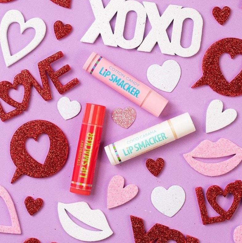 Pink, Red, and White Lip Balms with Valentines Decorations