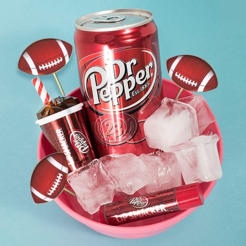 Dr pepper flavored lip balm with Dr Pepper can