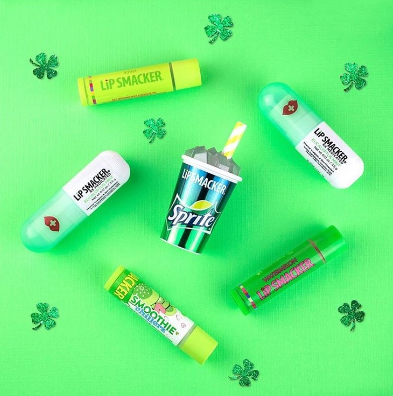 mint flavored Lip Balms against green background