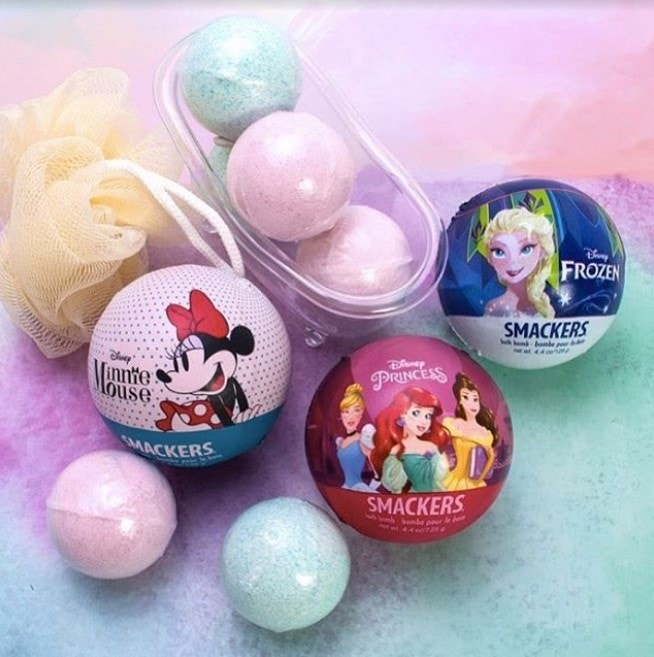 Disney princess bath bomb, minnie mouse bath bomb, and frozen bath bomb